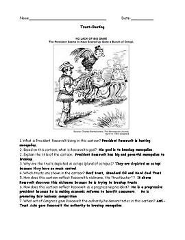 Progressive Era Trust Busting Political Cartoon with Answer Key 2