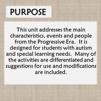 Progressive Era Unit for Special Education with complete lesson plans