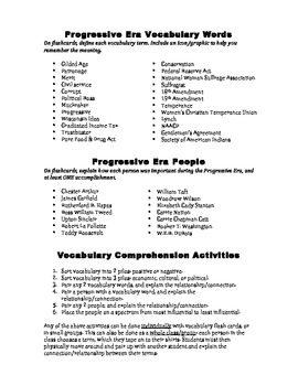 Progressive Era Vocabulary Activities to Improve Comprehension FREE