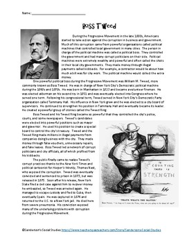 Progressive Era: William Boss Tweed Reading Comprehension Worksheet