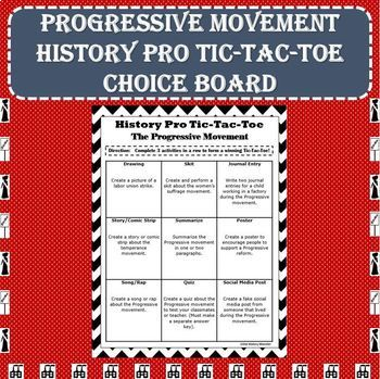 Progressive Movement Era History Pro Tic-Tac-Toe Choice Board