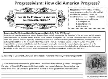 Progressive Movement: How did America Progress?  A Document Based Activity