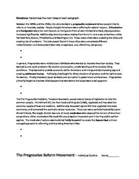 Progressive Movement Reforms - Paraphrasing Sheet
