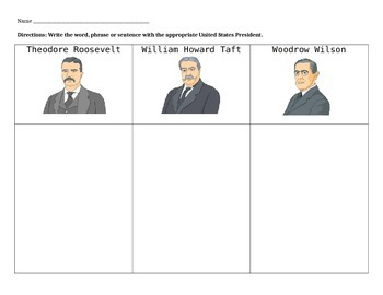 Progressive President Graphic Organizer/Summarizing Activity