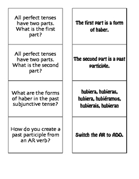 Spanish Past Perfect Subjunctive Matching Game