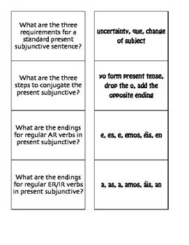 Spanish Present Subjunctive Matching Game