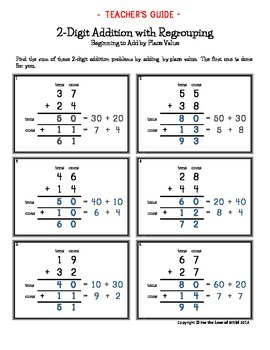 Progressive Stages of Common Core Math: 2-Digit Addition with Regrouping Unit