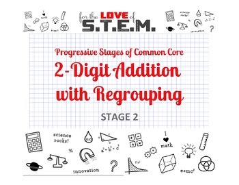 Progressive Stages of Common Core Math: 2-Digit Addition with Regrouping Stage 2