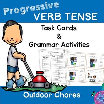 Progressive Tense Verbs - Outdoor Chores