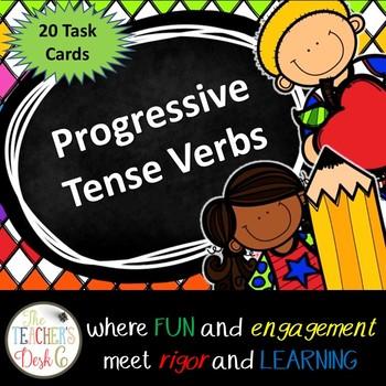 Progressive Tense Verbs Task Cards (Scoot)