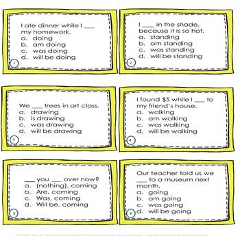 Progressive Tenses Task Cards and Quiz