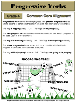 Progressive Tense & Modal Verb Quizzes - Common Core