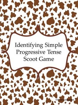 Progressive Verb Tense Scoot Game
