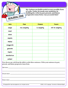 Progressive Verb Tenses - Common Core L.4.1b