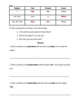 Progressive Verb Tenses Guided Notes
