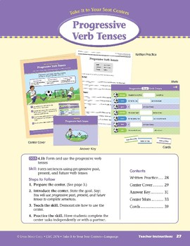 Progressive Verb Tenses (Take It to Your Seat Centers: Common Core Language)