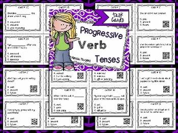 Progressive Verb Tenses Task Cards