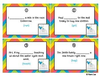Progressive Verb Tenses Task Cards - Set of 20