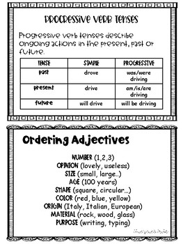 Progressive Verb Tenses and Ordering Adjectives