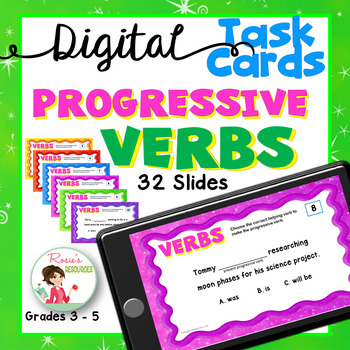 Progressive Verbs Digital Task Cards for Google Drive