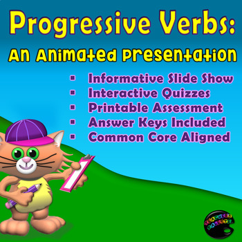Progressive Verb Tenses: Interactive Show & Printable Assessment {Test Prep}