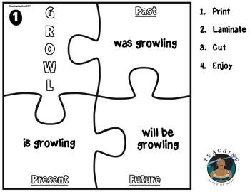 Progressive Verbs Matching Puzzles: Print. Laminate. Cut.