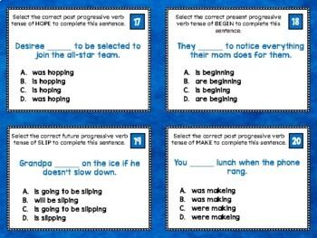 Progressive Verbs Task Cards