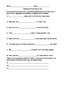 Progressive Verbs Test