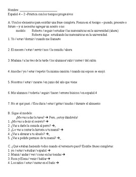 Progressive tense practice sheet for Spanish 4