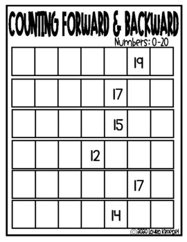 Counting Forward Worksheets