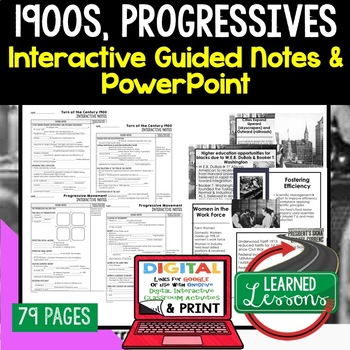 Progressives Guided Notes & PowerPoints, US History, Print, Digital, Google