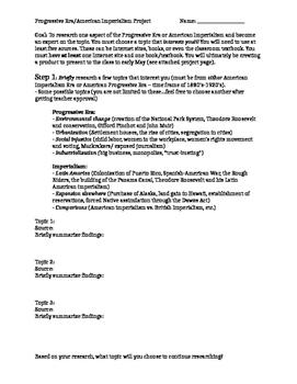 Progressivism/Imperialism Era Guided Research Creative Project