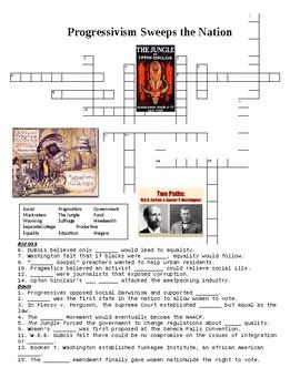 Progressivism Sweeps the Nation Crossword Puzzle or Web Quest
