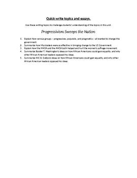 Progressivism Sweeps the Nation Writing Topics and Essay Questions