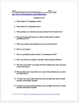 Prohibition 1927 Primary Source Worksheet