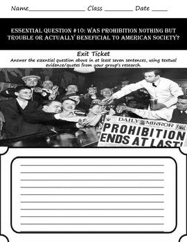Prohibition & Al Capone's Thesis: Common Core & Research Based Lesson