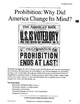 Prohibition: DBQ