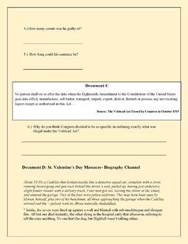 Prohibition Era and Al Capone Stimulus Based Questions