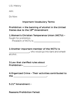 Prohibition PowerPoint Worksheet