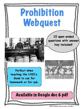 Prohibition Webquest (Roaring 20's, 1920's)