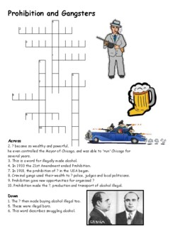 Prohibition and Gangsters Crossword