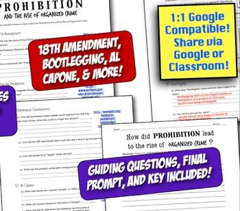 Prohibition, the 18th Amendment, & the Rise of Organized Crime! Fun Webquest!
