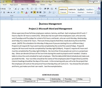 Project 2: Microsoft Word and Management