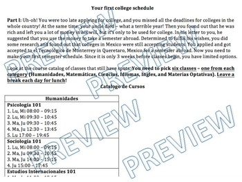 Project - A semester abroad - Make a college schedule and write about it!