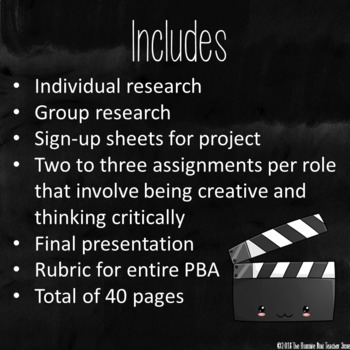 Film School Project Based Assessment for English Language Arts