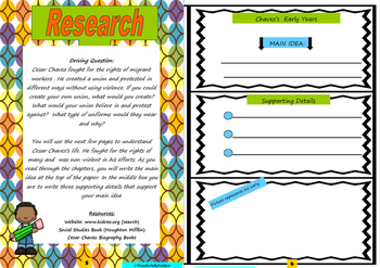 Cesar Chavez: Project Based Learning Activity (color)