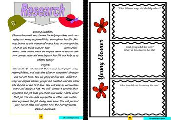 Eleanor Roosevelt: Project Based Learning Activity  (Black/White)