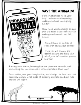 Project Based Learning Activity: Endangered Animal Awareness, Build An App (PBL)