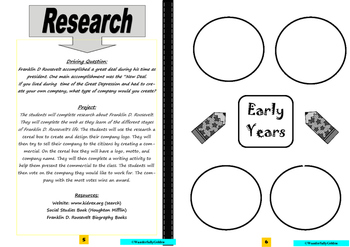 Franklin D. Roosevelt: Project Based Learning Activity  (Black/White)