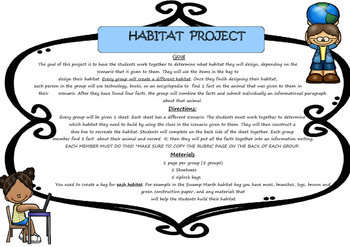 Habitats:  Project Based Learning Activity *FREEBIE* (Black/White)